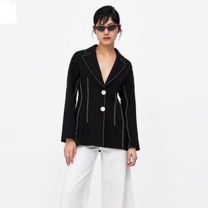 NWT Zara Black Blazer w/ Contrasting Topstitching
